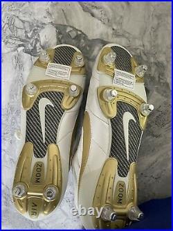 Autographed Ronaldinho Nike Tiempo Legends SG Gold Signed Brazil Shoes Boots