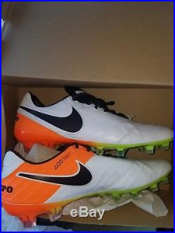 Men's Nike Tiempo Legend VI FG Soccer Cleats, White/Orange, 819177 108, Size 10.5