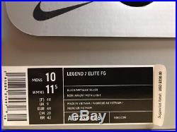 NEW! Nike Men's Tiempo Legend 7 Elite FG Soccer Cleats Black/Silver Size 10
