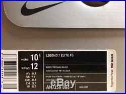 NEW! Nike Men's Tiempo Legend 7 Elite FG Soccer Cleats Black/Silver Size 10.5