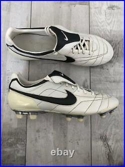 NIKE TIEMPO AIR Zoom Legend FG White Leather Football Soccer Ronaldinho US12