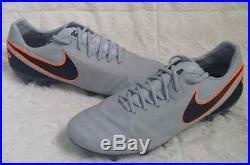 Nike Tiempo Legend VI Fg ID Men's Firm Ground Soccer Cleat Grey/orange Sz. 10.5