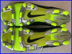 Nike Air Tiempo Legend II FG Size 7.5 Black Volt K Leather 2008 Cleat 317041 071