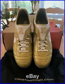 Nike R10 Ronaldinho Tiempo Air Legend Rare Gold Football Boots US 9