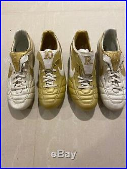 Nike Tiempo Air Legend Gold Ronaldinho CLASSIC Cleats R10 WHITE GOLD LOT RARE