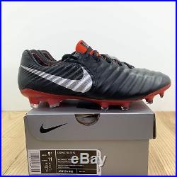 Nike Tiempo Legend 7 Elite FG Size 9.5 Mens Soccer Cleats Black Metallic Silver