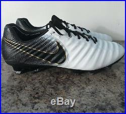 Nike Tiempo Legend 7 Elite Fg Soccer Cleats Size 8 White/black/gold Ah7238-100