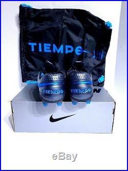 Nike Tiempo Legend 8 Elite FG ACC Black Blue Soccer Cleats AT5293-004 Mens 9.5