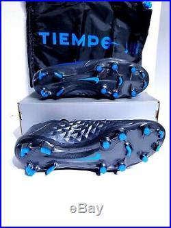 Nike Tiempo Legend 8 Elite FG ACC Black Blue Soccer Cleats AT5293-004 Mens SZ 9