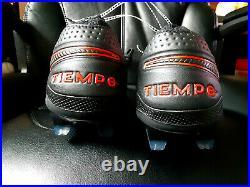 Nike Tiempo Legend 8 Elite FG ACC Soccer Cleats Blk/Red AT5293-060 Men's Size 9