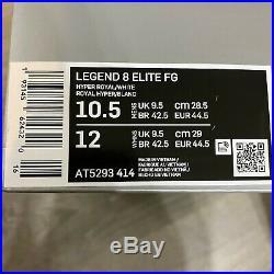 Nike Tiempo Legend 8 Elite FG Hyper Royal Blue/White AT5293-414 Mens Size 10.5