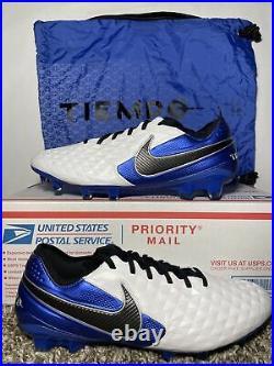 Nike Tiempo Legend 8 Elite FG Soccer Cleats White Royal AT5293-104 Men's Sz 9