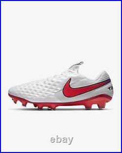 Nike Tiempo Legend 8 Elite FG White/Photon Dust/Flash Crimson AT5293-163 Sz 9.5
