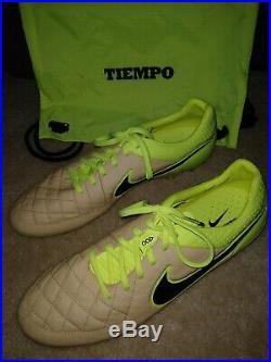 Nike Tiempo Legend V FG ACC Soccer Cleats 631518-707 Sz12 Canvas/Black/Volt RARE