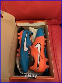 Nike Tiempo Legend V FG ACC Soccer Cleats Blue/Orange Size 8.5 Brand New