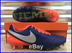 Nike Tiempo Legend VI 6 FG Soccer Cleats Deep Royal Chrome SZ (819177-409)