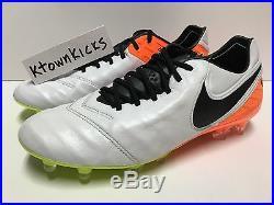 Nike Tiempo Legend VI FG ACC Soccer Cleats White Orange 819177 108 Men's 12