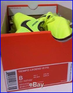 Nike Tiempo Legend VI FG Men's Soccer Cleats Size 8 Volt Black 819177-707 NEW