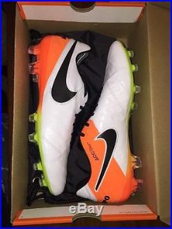 Nike Tiempo Legend VI FG Soccer Cleat White/Black/Total Orange/Volt Size 8.5