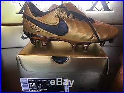 Nike Tiempo Legend VI SE FG AA0612-706 TOTTI X ROMA Gold Soccer Cleats Size 7.5