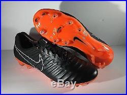 Nike Tiempo Legend VII Elite FG Black Orange AH7238-080 Mens Sz 8.5 Women Sz 10