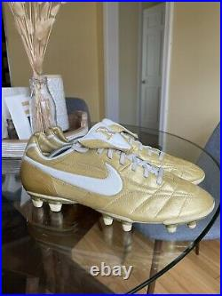 Nike Zoom Air Legend Ronaldinho Tiempo Gold R10 Soccer Boots Cleats US 12
