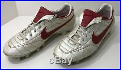 Nike Zoom Air Tiempo Legend Mens Size 9 White/Red Soccer Cleats 310113-161