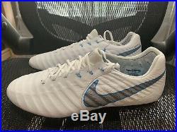 SZ 8.5 Nike Tiempo Legend VII Elite SG-Pro AH7253-108 White Blue Soccer Cleats